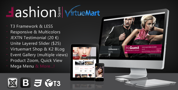 Fashion Responsive Joomla Shopping Cart Theme