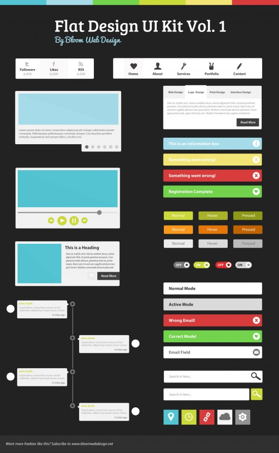 Flat-Design-UI-Kit-PSD-Vol1