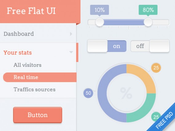 Flat-dashboard-Free-UI-kit-PSD