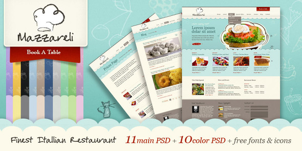 Mazzareli - Restaurant & Cafe PSD Template