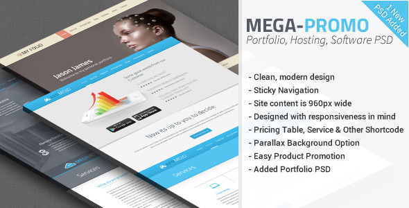 Mega - Hosting-Software Promotion PSD