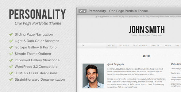 Personality - One Page Portfolio WordPress Theme
