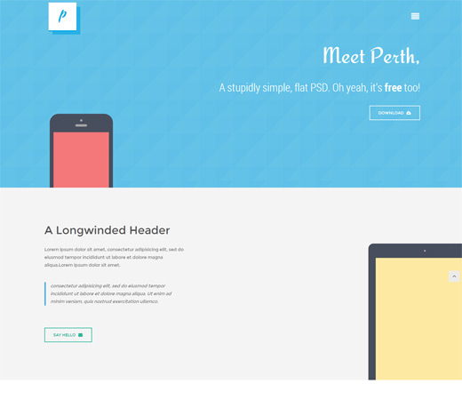 Free Mobile Design Templates | Flat Design Website Template