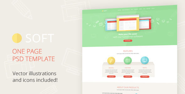 Soft - Illustrated One Page PSD Template