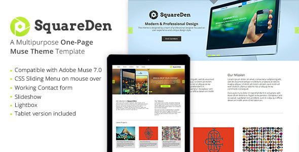 SquareDen - One Page Muse Theme