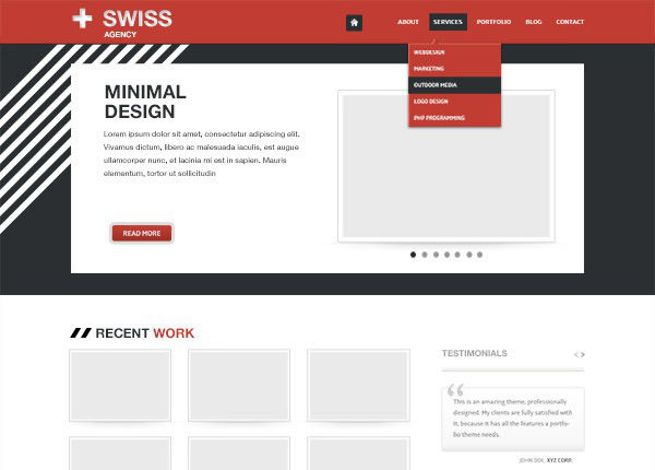 Swiss – Minimal PSD Website Template