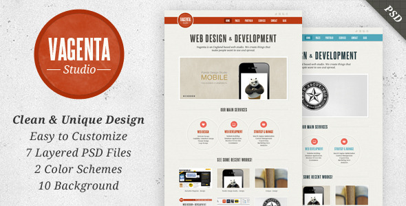 Vagenta - Clean & Unique PSD Template