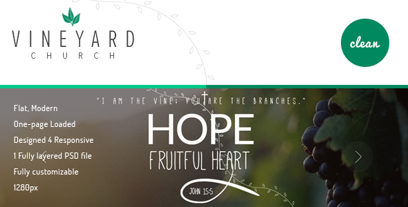 Vineyard Church - One Page Church PSD Template