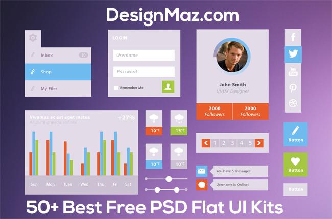 50+ Best Free PSD Flat UI Kits