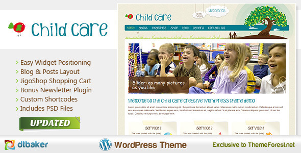 25 best kid 39 s wordpress themes for kindergarten and for Childcare newsletter templates
