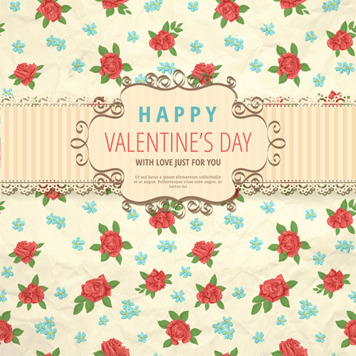 flower-with-valentine-day-background-vector