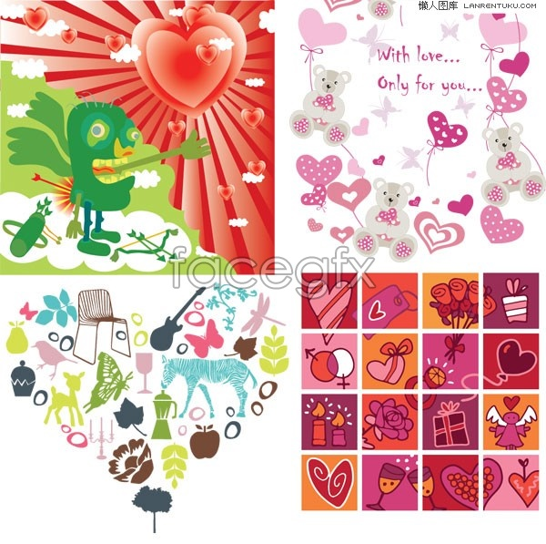 four-nature-valentine-vector