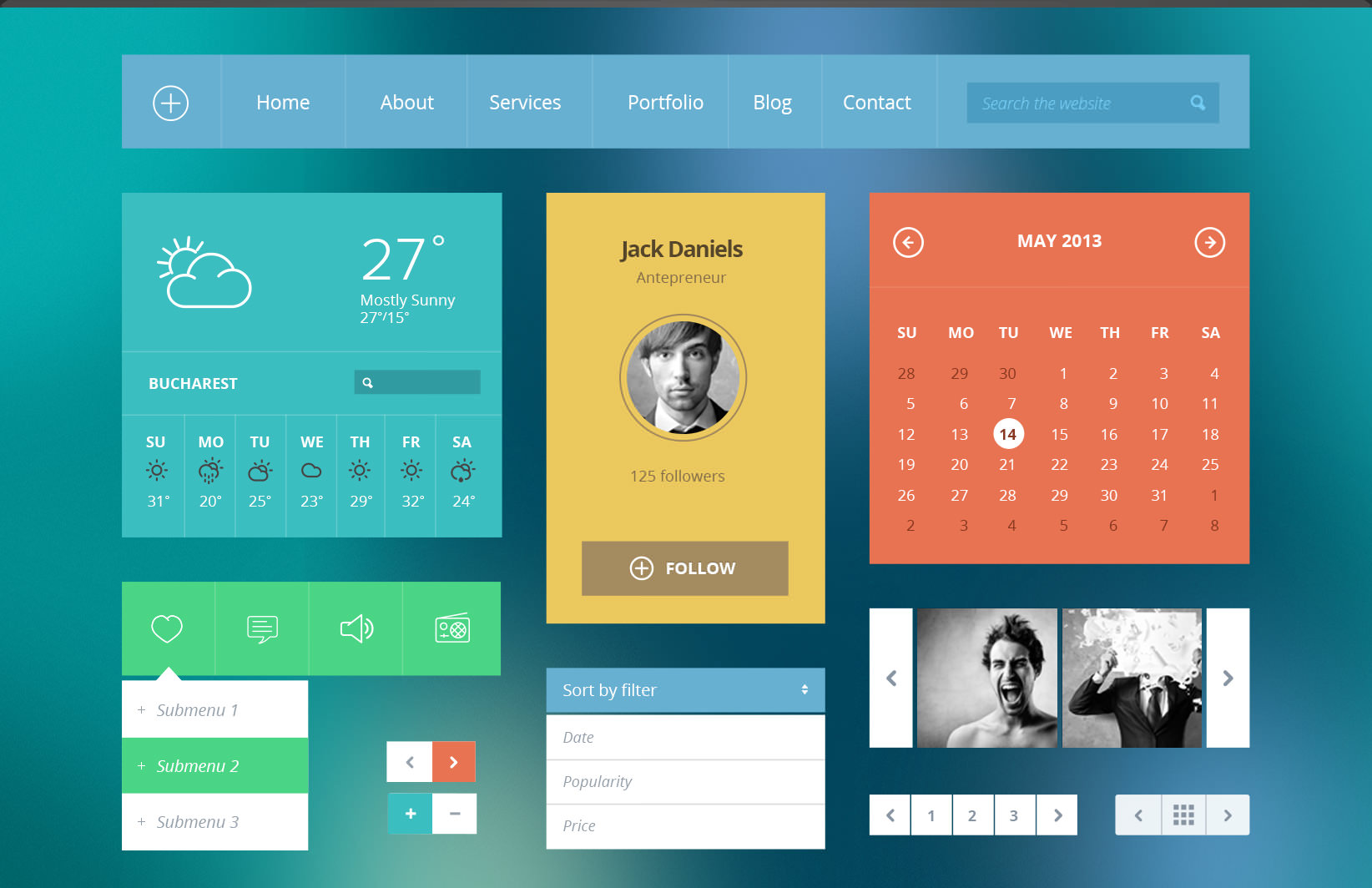 55 best free psd flat ui kits designmaz for Modern flat design