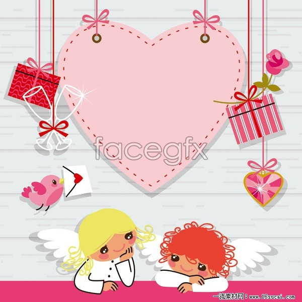 valentine-pink-cartoon-element-vector