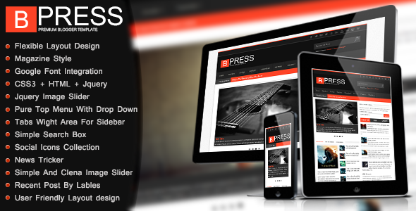 Bpress - New & Responsive-Magazin Blogger Template