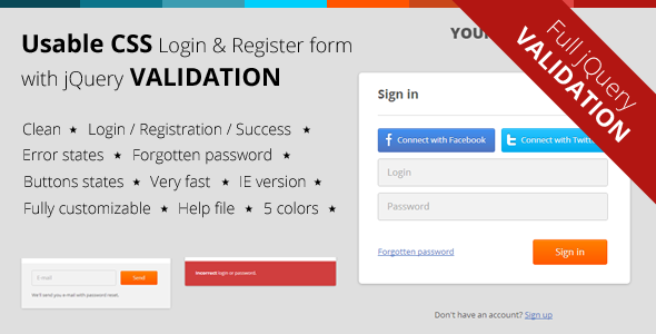 CSS Login & Register Form with jQuery Validation