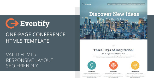 html5 one page conference template is an eye catching event template EsMH7OcI