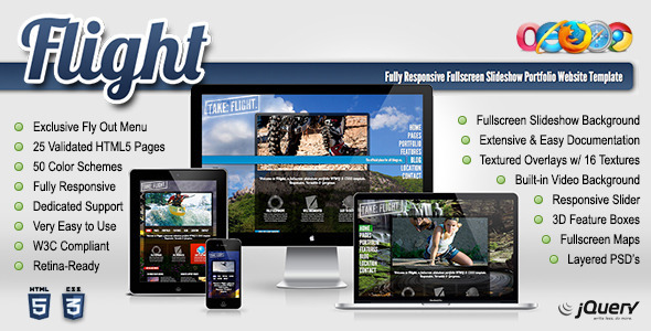 Flight - Responsive Fullscreen Background Template
