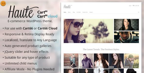 Haute - Ecommerce WordPress Theme for Cart66