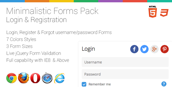 Minimalistic Login-Register Form + Live Validation
