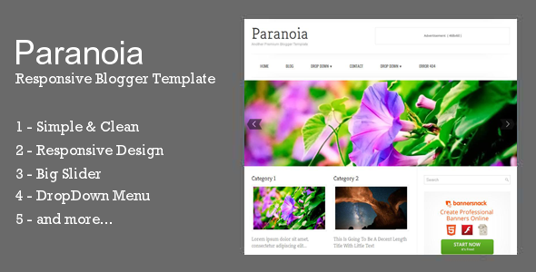 Paranoia Responsive Blogger Template