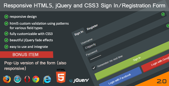 Responsive HTML5-jQuery Sign In-Registration Form