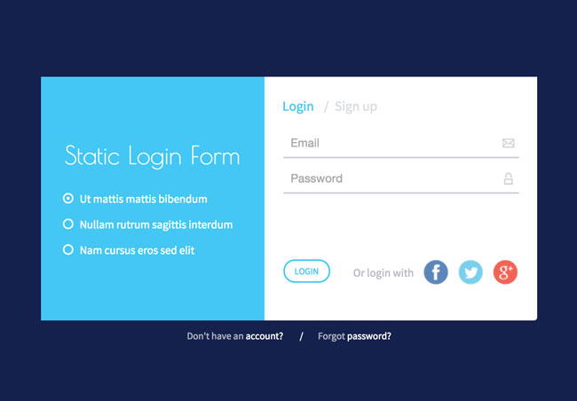 Responsive static login form html5 template free download for Jquery registration form template
