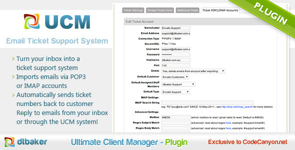UCM Plugin-POP3-IMAP Email Ticket System