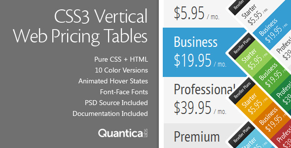 CSS3 Vertical Web Pricing Tables