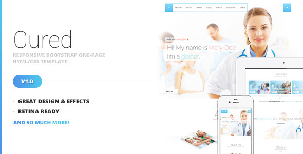 Cured - Bootstrap One Page HTMLCSS Template