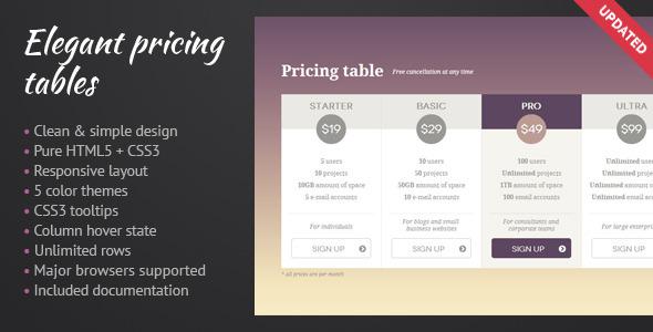 Elegant Pricing Tables