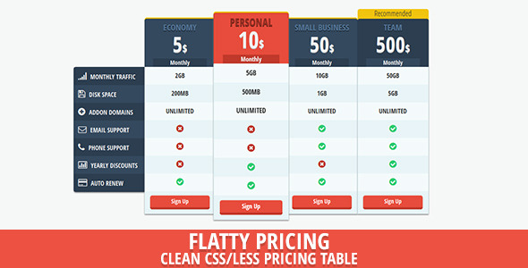 Flat Price - Flat UI Pricing Table