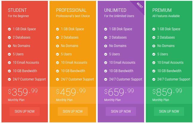 35+ Best Html Css3 Responsive Pricing Table Templates - Designmaz