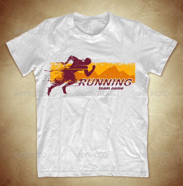 Grunge-T-shirt-design-with-running-athlete