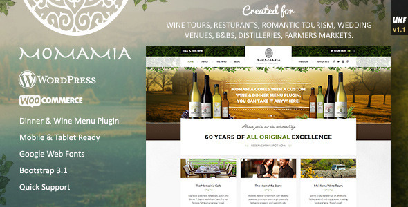Momamia - Restaurant & Winery WooCommerce WP Theme
