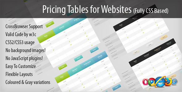 Pricing Tables for Websites