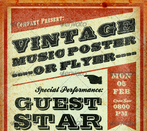 Print Templates - Vintage Music Poster Template