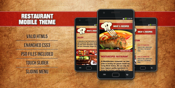 Restaurant Mobile Theme Meat&Recipes