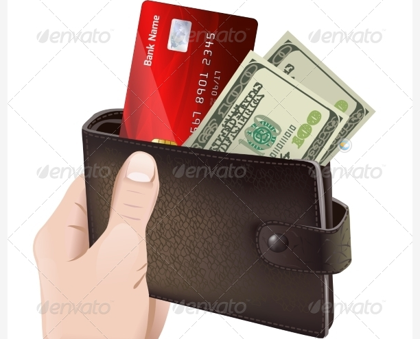 Vectors - Hand Holding Classic Leather Wallet
