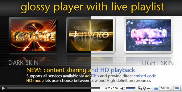 Xml video player with glossy live preview playlist