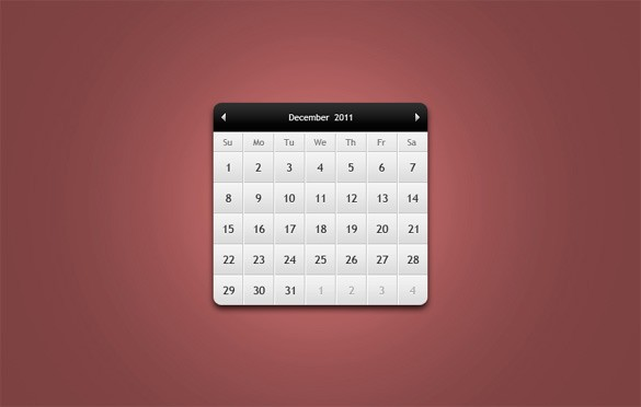 Custom Web Calendar Interface PSD