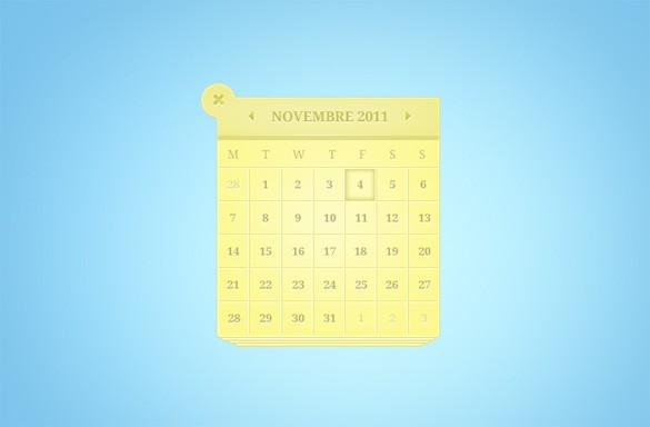 Fantastic Yellow Calendar Web UI Element PSD