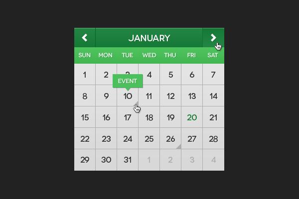 Flat Mini Calendar