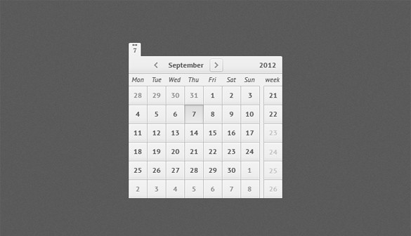 Precision Web UI Calendar PSD