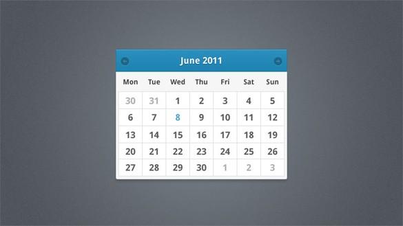 Minimal Calendar Widget Design PSD