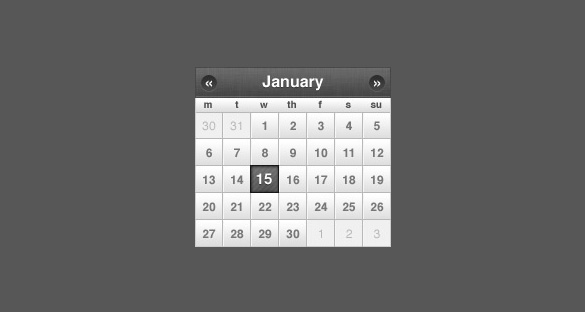 Sleek Small Calendar PSD jQuery or CSS Date Picker