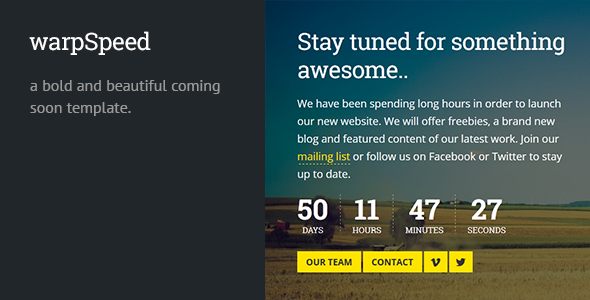 warpspeed-responsive-coming-soon-page