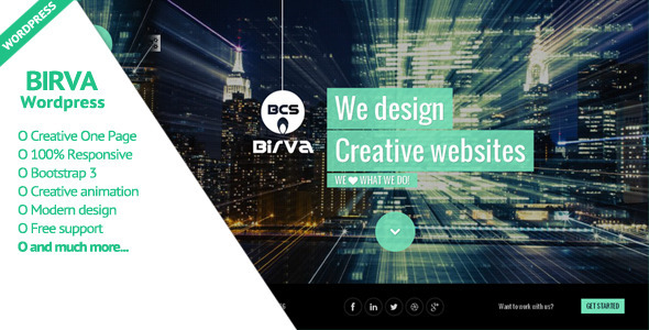 BIRVA - Creative One Page WordPress Theme