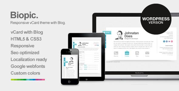 Biopic - Responsive vCard WordPress Theme