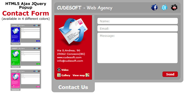 HTML5 Ajax Jquery Popup Contact Form